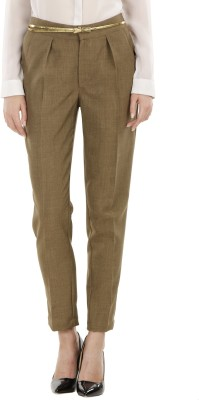Fuziv Regular Fit Women's Green Trousers