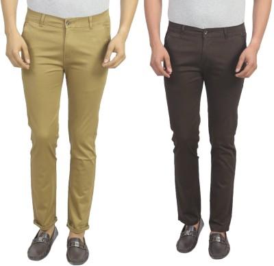 Masterly Weft Slim Fit Men's Beige, Brown Trousers
