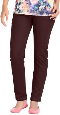 Hbhwear Slim Fit Women's Denim Brown Trousers