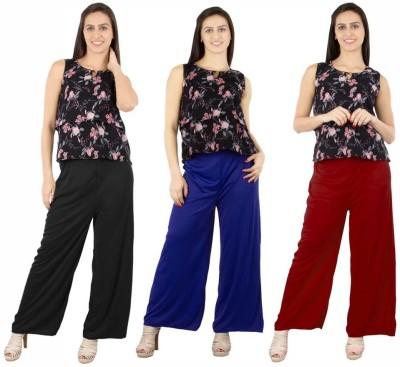 Fashion Flow+ Regular Fit Women's Black, Blue, Maroon Trousers