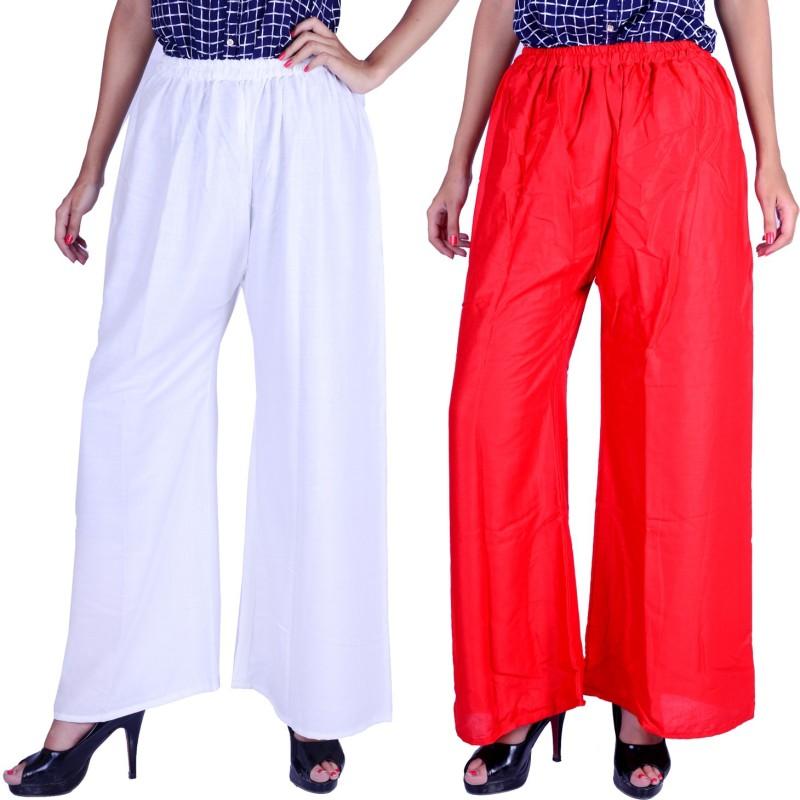 Letsgetit Regular Fit Women's White, Red Trousers