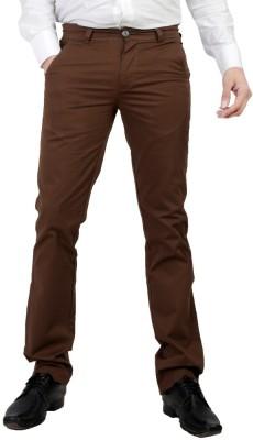 Wood Slim Fit Men's Brown Trousers