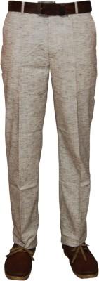 Le-Meiux Slim Fit Men's Linen Brown Trousers