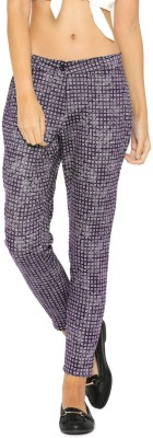 Mast & Harbour Regular Fit Women's Dark Blue, White Trousers at flipkart