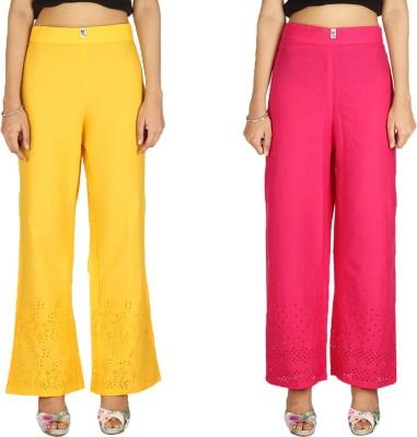 Quetzal Regular Fit Women's Red, Yellow Trousers