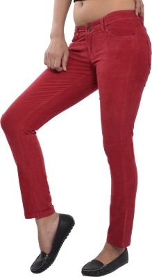 Devis Slim Fit Women's Red Trousers