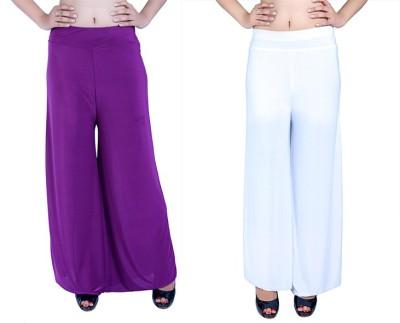 Ajaero Regular Fit Women's Purple, White Trousers