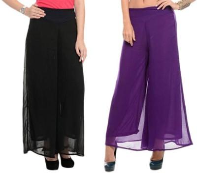 Kyron Regular Fit Women,s Black, Purple Trousers