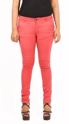 Showoff Skinny Fit Women's Orange Trousers