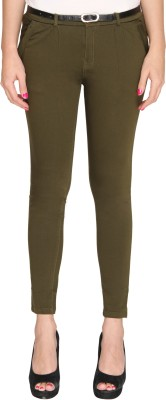 Bedazzle Slim Fit Women's Green Trousers