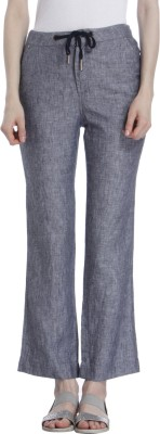 Only Regular Fit Womens Linen Grey, Black Trousers