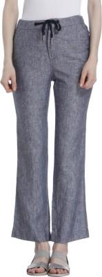 Only Regular Fit Women's Linen Grey, Black Trousers at flipkart