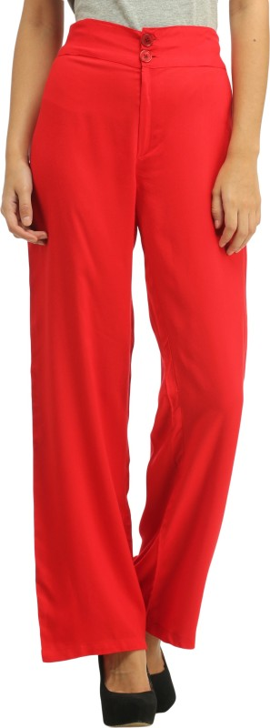 Cottinfab Slim Fit Women's Red Trousers