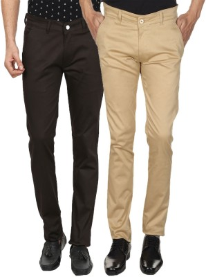 Custom Creation Slim Fit Men's Brown, Beige Trousers