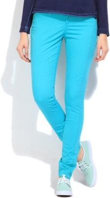 Elle Slim Fit Women's Blue Trousers at flipkart