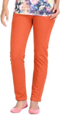 Hbhwear Slim Fit Women's Denim Orange Trousers