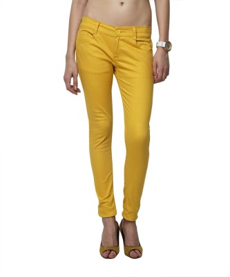 Yepme Slim Fit Women's Yellow Trousers at flipkart