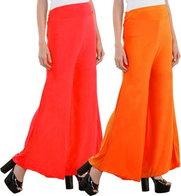Aadhar Creations Regular Fit Women's Linen Red, Orange Trousers