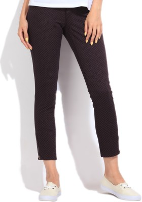 Lee Slim Fit Women's Purple, Grey Trousers at flipkart