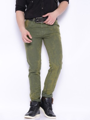 Roadster Slim Fit Men's Green Trousers