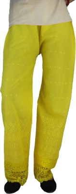 B VOS Regular Fit Women's Yellow Trousers