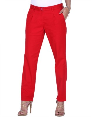 Fast n Fashion Slim Fit Women's Red Trousers