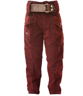 Generationext Regular Fit Baby Boy's Maroon Trousers