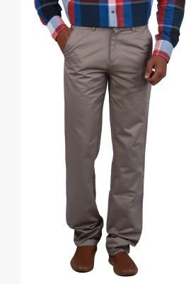 Cotton colors Regular Fit Men's Grey Trousers