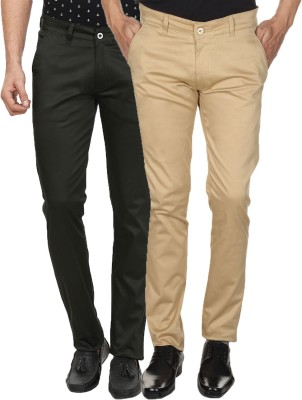 Custom Creation Slim Fit Men's Green, Beige Trousers