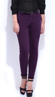 D Muse by DressBerry Skinny Fit Women's Purple Trousers