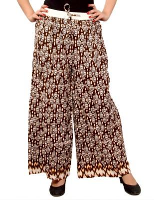 A&K Regular Fit Women's Brown Trousers