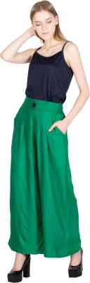 CURVYY Regular Fit Women's Green Trousers