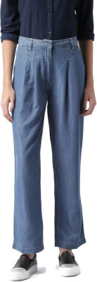 Mast & Harbour Regular Fit Women's Blue Trousers at flipkart