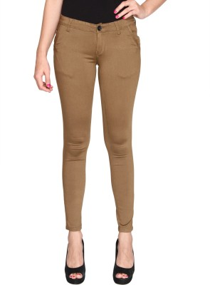 Bedazzle Slim Fit Women's Brown Trousers