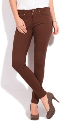 Elle Skinny Fit Women's Maroon Trousers at flipkart