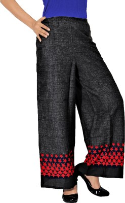Khushali Regular Fit Women's Black, Red Trousers