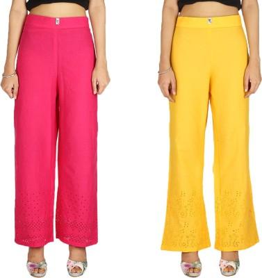 Quetzal Regular Fit Women's Yellow, Red Trousers