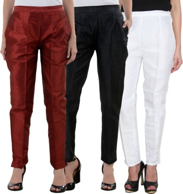 NumBrave Slim Fit Women's Maroon, Black, White Trousers