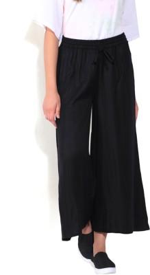 People Regular Fit Women's Black Trousers at flipkart