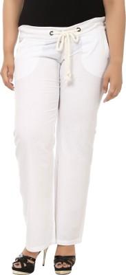 LastInch Regular Fit Women's Linen White Trousers