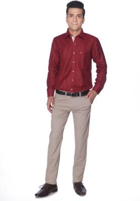 Silver Leaf Slim Fit Men's Cream Trousers
