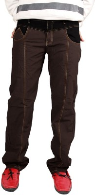 Shiksha Slim Fit Men's Brown Trousers
