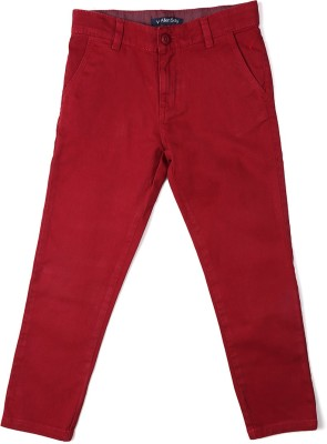 Allen Solly Regular Fit Boy's Red Trousers