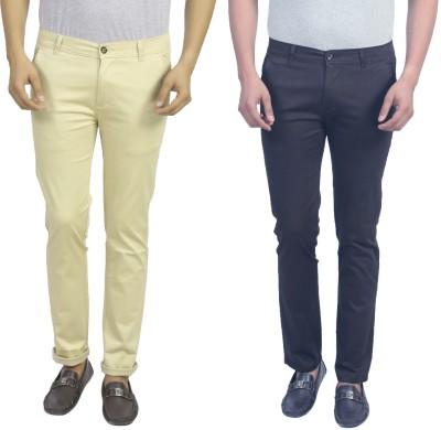 Masterly Weft Slim Fit Men's Cream, Dark Blue Trousers