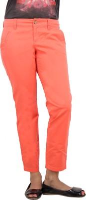 LondonHouze Slim Fit Women's Orange Trousers