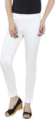 F Fashion Stylus Slim Fit Women,s White Trousers