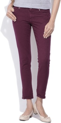 Lee Slim Fit Women's Purple Trousers at flipkart