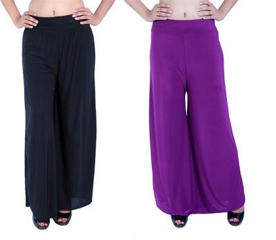 Ajaero Regular Fit Women's Black, Purple Trousers