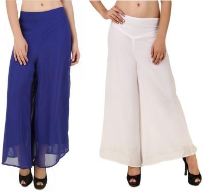 CHIKFAB Regular Fit Women's Blue, White Trousers