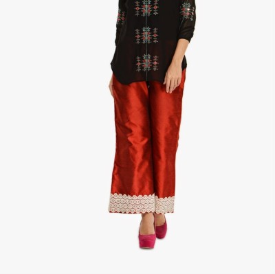 Navyou Regular Fit Women's Maroon, White Trousers